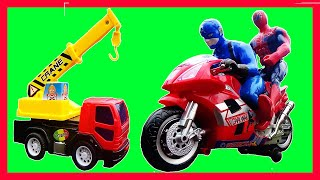 Captain America and Spider Man rescue the Construction Vehicle Toys