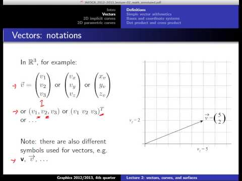 Computer Graphics 2013, Lect. 2(1) - Vectors and curves