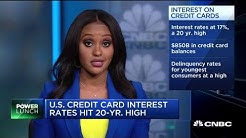 US credit card interest rates hit 20-year high at 17 percent