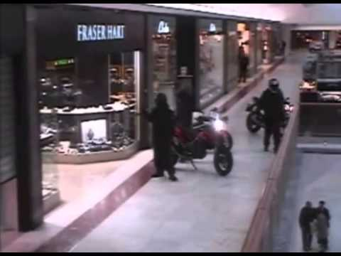 Axe Wielding Robbers on Motorbike Rob Jeweller: Brent Cross Shopping Centre