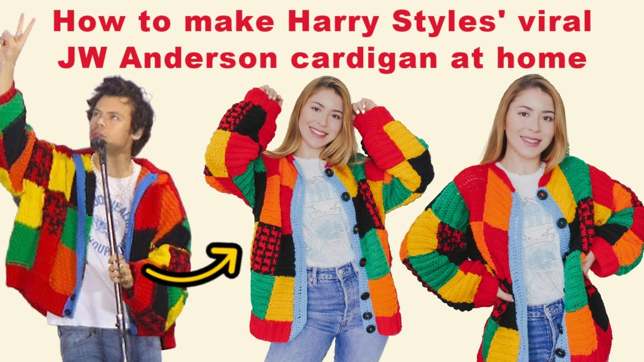 how to make harry styles viral jw anderson cardigan at home crochet cardigan youtube how to make harry styles viral jw anderson cardigan at home crochet cardigan