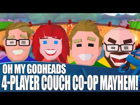Let's Play Oh My Godheads - 4-Player Couch Co-op Mayhem!