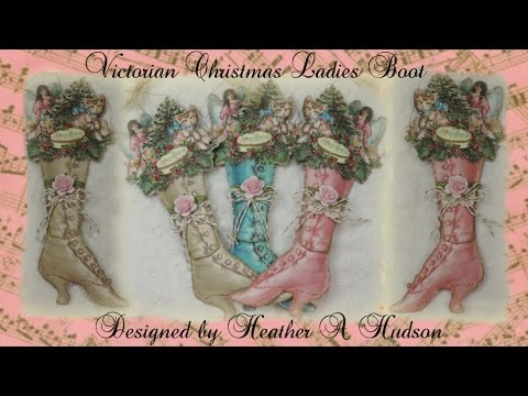Shabby Pink Roses Victorian Paper Boot Christmas Ornament DIY Tutorial
