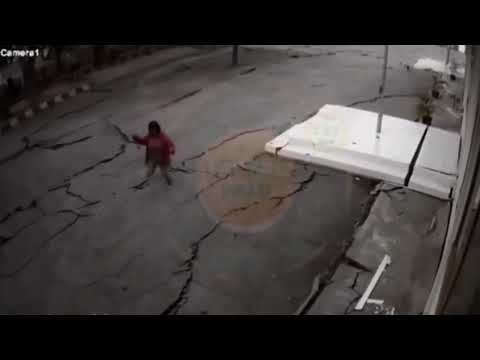 CCTV Footage of the ground cracking during Palu, Central Sulawesi Earthquake