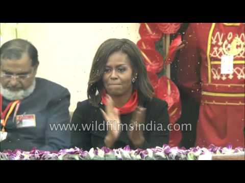 Michelle Obama views India's Republic Day spectacle of motorcycle stunts
