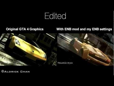 GTA 4 Comparison - Original Graphics & ENB mod and My ENB graphic settings [1080p HD]