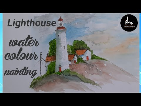 How to draw | beautiful lighthouse painting | landscape painting | step-by-step | isha drawing acade
