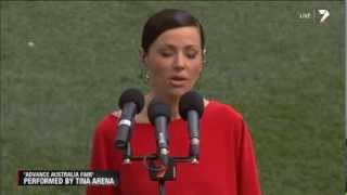 Tina Arena sings the Australian National Anthem on AFL Grand Final 2013