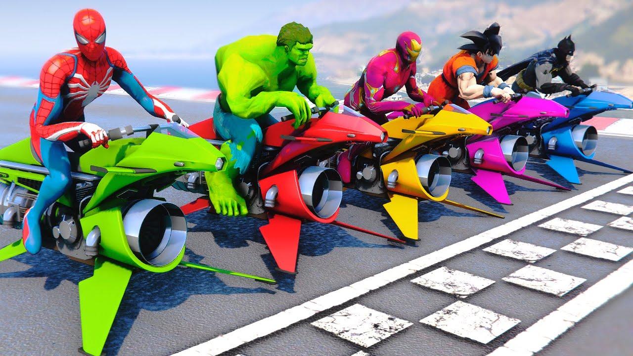 Spidey, Ironman & Hulk Challenge Race Track Together - GTA 5