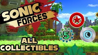 Sonic Forces - Stage 10 Green Hill - All Red Rings, Number Rings and Silver Moons