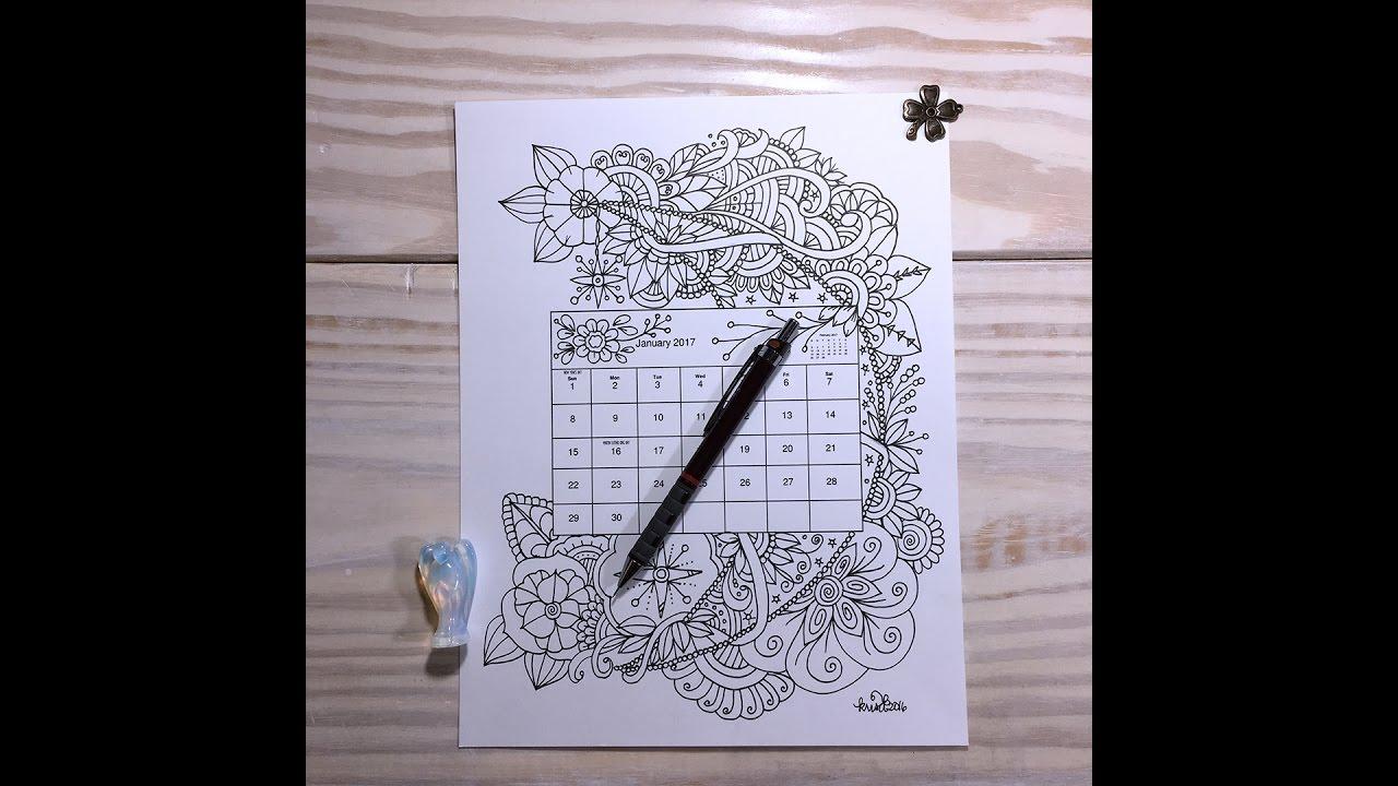 Calendar Drawing Pictures : Jan calendar drawing doodle youtube