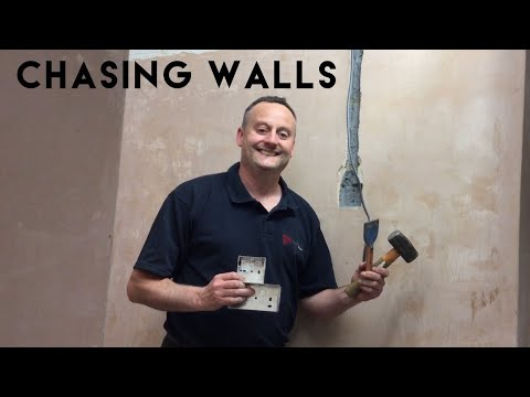 How to Chase a Wall and Fit a Flush Single or Twin Socket Box In a Plastered Brick Walls (Chasing)