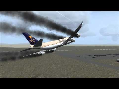 Saudia Cargo 747-8F Crash Jeddah [Engine Fire / Gear Fail]