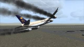 Saudia Cargo 747-8F Crash Jeddah [Engine Fire / Gear Fail]