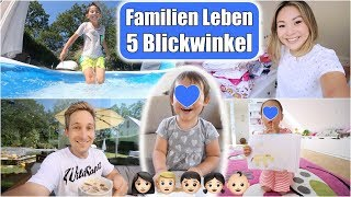 Familien Leben aus 5 Perspektiven 🎥 Alle vloggen! Pool Party im Garten & Ausmisten | Mamiseelen