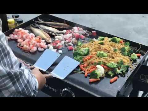 Blackstone griddle menu seafood platter served on for Blackstone griddle