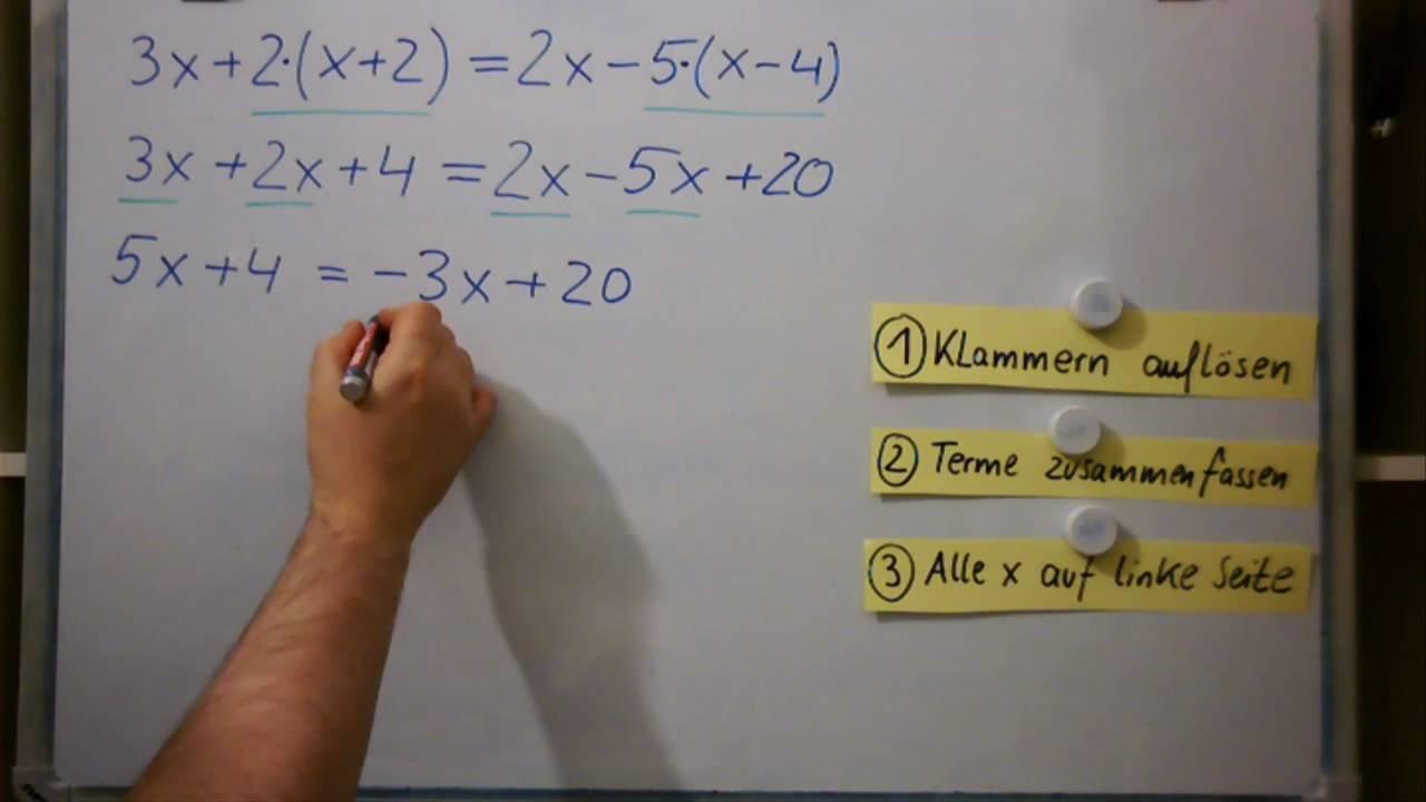 Lineare Gleichungen mit Klammern - YouTube