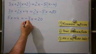 Lineare Gleichungen mit Klammern
