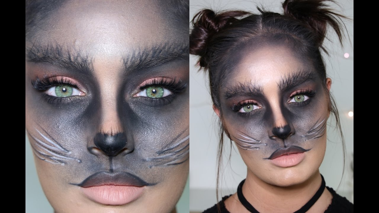 cute black cat diy halloween costume/makeup tutorial - youtube