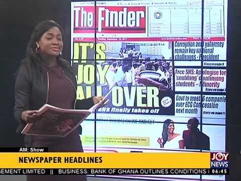 AM Show Newspaper Headlines on JoyNews (12-9-17)