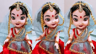 DIY bridal doll with dress and kundan jewellery # kalpana saranam