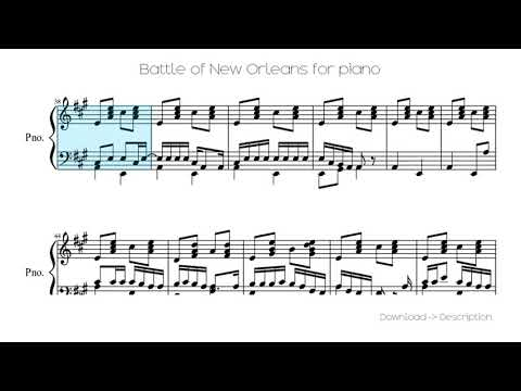 🎶 Battle Of New Orleans For Piano 🎸🎸
