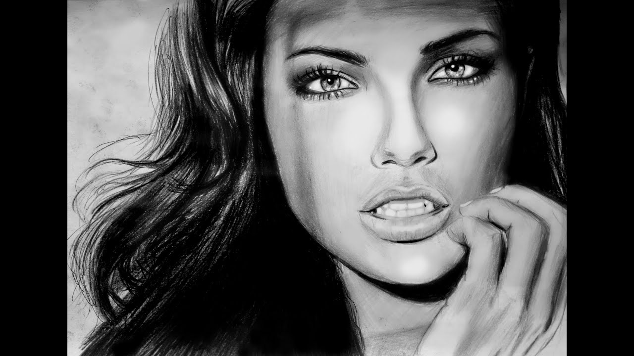 Youutube Kleurplaat Adriana Lima Speed Drawing Youtube
