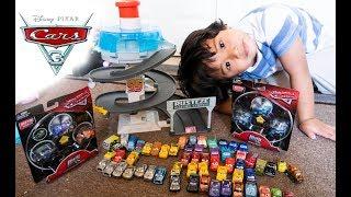 Disney Cars Mini Racers Glow in the Dark and Metallic Dinoco Lightning McQueen Collection
