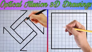Optical Illusion 3D Draẁings / Easy Drawing Tricks on Graph Paper | Ashar 2M