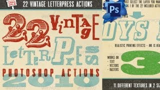 22 Vintage Letterpress Photoshop Actions (free For Photoshop)