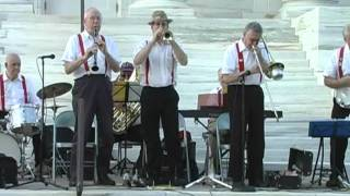 Marshall's Dixiland Jazz Band plays in downtown Somerville, NJ in a...