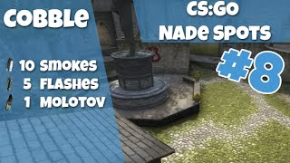 CS:GO Nade Spots Ep #8 - New Cobblestone 10 Smokes, 5 Flashes and 1 Molotov - Quick Version