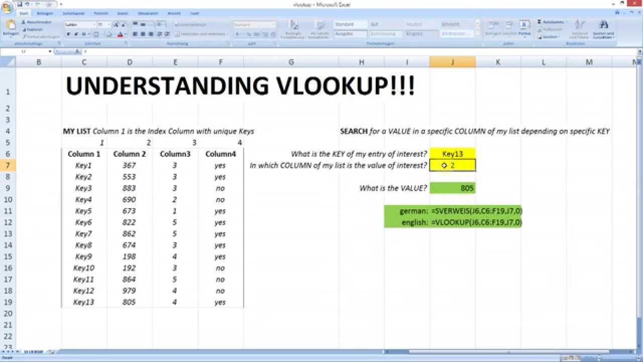 Vlookup Example In Excel Youtube