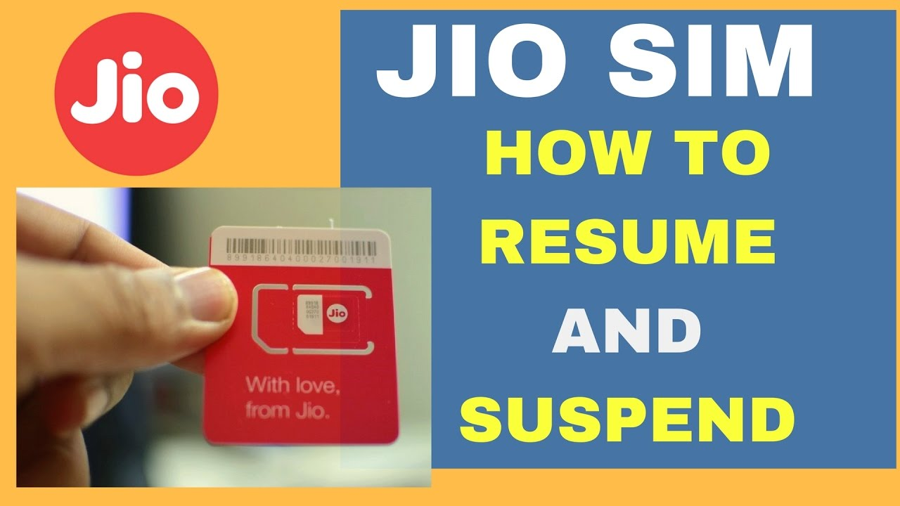 how to easily suspend or resume jio 4g sim card services youtube