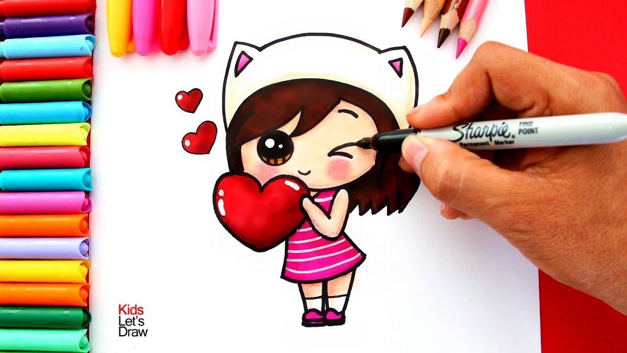 Cómo Dibujar Una Niña Kawaii Con Un Corazón How To Draw A