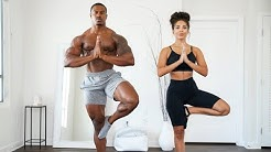 10 MIN YOGA FLOW FOR BEGINNERS! WITH CHANEL COCO BROWN & SIMEON PANDA