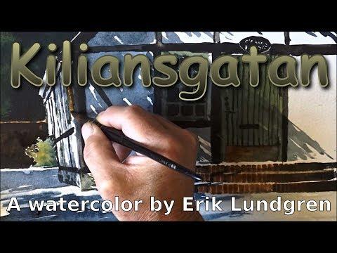 Kiliansgatan   A watercolor by Erik Lundgren
