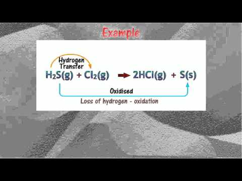 Oxidation and reduction(Loss and gain of hydrogen)