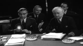 James F Byrnes,Anthony Eden and Vyacheslav Molotov gathered for Potsdam Conferenc...HD Stock Footage