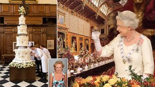 Secrets of the Queen's 70th wedding party: Pheasant with a replica of wedding cake for pudding
