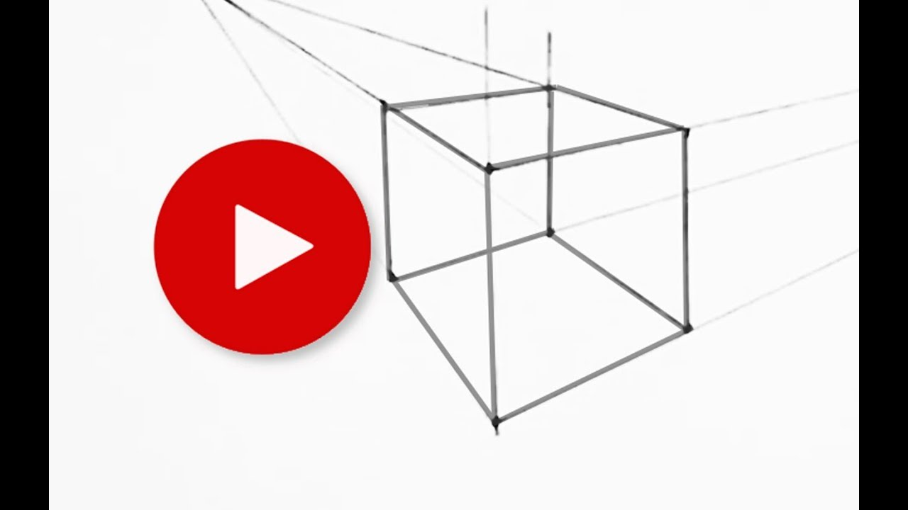 How To Draw A Cube In Two Point Perspective Youtube