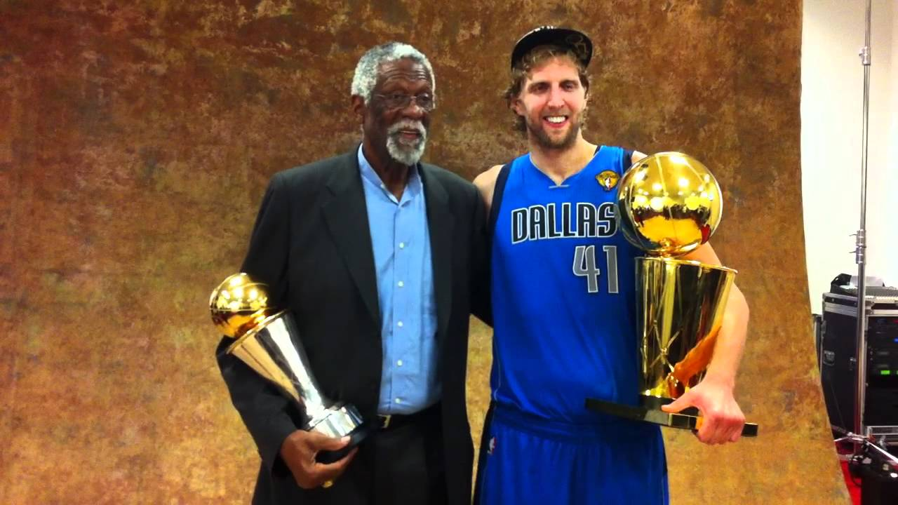 Dirk & Bill Russell pose with MVP trophy at 2011 NBA Finals - YouTube