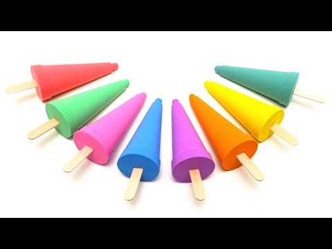 색깔의 모래에서 무지개 아이스크림 만들기 | 크리에이티브 샌드 운동 | 어린이 장난감 | 아이 캔디 장난감