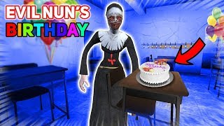 THROWING A BIRTHDAY PARTY FOR THE NUN!!! | Evil Nun The Mobile Horror Game (Messing Around)
