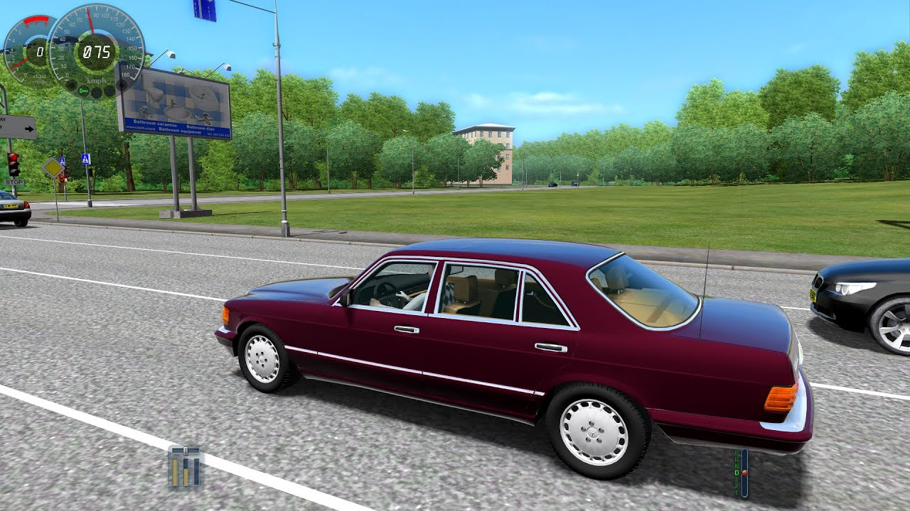 City car driving 1 3 3 mercedes benz 560sel w126 1080p for Mercedes benz city