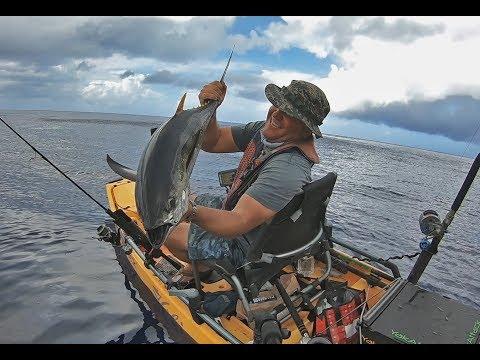 Yellowfin Tuna jigging from the Hobie Pro Angler - Offshore Kayak Fishing Guam
