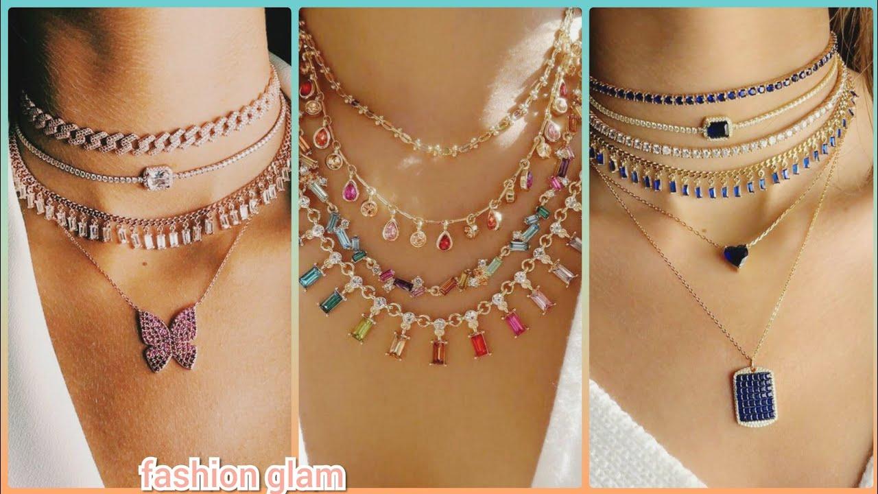 beautiful multi layer gold chain stones choker necklace sets styles