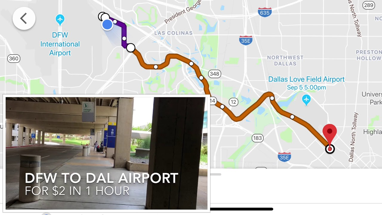 Dallas DFW to DAL Love Field Airport for $2 in 1 hour