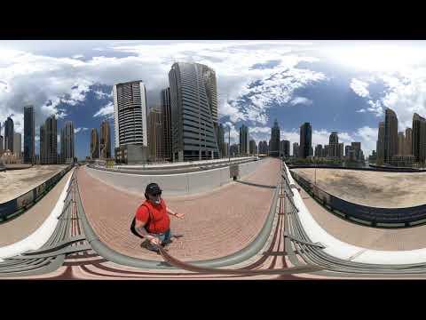 Дубаи360/Путевые Заметки – прогулка по каналу Dubai Marina к метро в режиме теста видео 360, ч.01