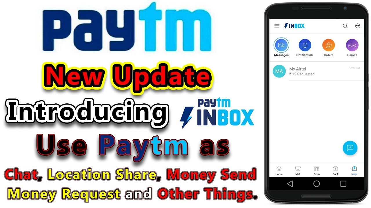 Paytm Inbox Now Chat Location Share Send Money Request Your In